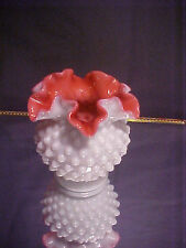 """Collectible Fenton Cased Wild Rose Ruffled Hobnail Vase 4.5""""tall"""