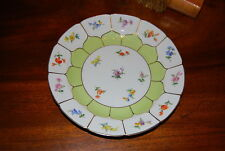 SUPERB MEISSEN HAND PAINTED DRESDEN FLOWERS & GREEN CABINET OR WALL PLATE