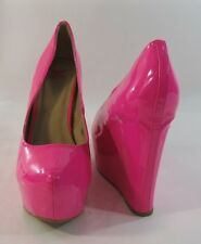 "Hot Pink 6"" High Wedge Heel 2"" Platform Round Toe Sexy Shoes Size 5.5"