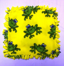 HANDMADE BABY MINI FLEECE TIED SECURITY BLANKET - YELLOW WITH HAPPY FROGS