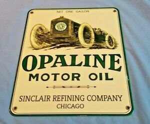 VINTAGE SINCLAIR GASOLINE OPALINE PORCELAIN MOTORS GAS RACE CAR CHICAGO SIGN