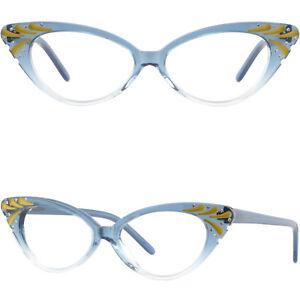 Acetate Full-Rim Frame with Spring Hinges Women's cat-eye Glasses Blue Crystal