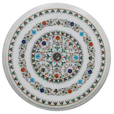 """18""""x18"""" White Marble Coffee Table Top Floral Inlay Art Decor"""