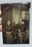 Antique Victorian Tintype Photograph Old Couple House Porch on Windsor Chair