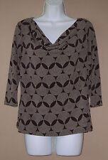 Womens Size Medium 3/4 Long Sleeve Fall Fashion Brown Career Blouse Top Shirt