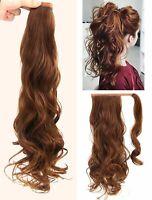 Long Wavy Hair 100% Human Hair Ponytail Wrap Around Clip Human Hair Extensions