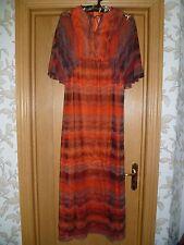 "Debenhams vintage retro nylon chiffon long maxi dress S 32"" bust boho wedding"