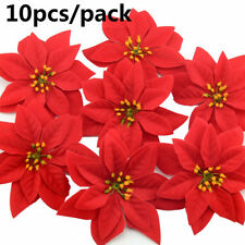 10PCS Christmas Flower Velvet Poinsettia Head Red Xmas Hanging Ornament Holiday~