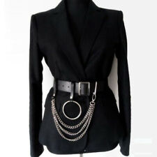 Women Punk  PU Leather Harness Belts With Waist  Body Metal Hoop 3 Layers Chains