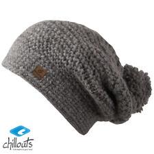 chillouts DINA de punto gorro invierno mujer bordado gris 100% lana NUEVO