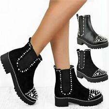 Womens Ladies Flat Ankle Boots Studded Spike Grunge Comfy Thick Sole Shoes Size