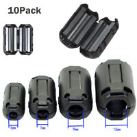 10Pcs Black Clip On Clamp RFI EMI Noise Filter Ferrite Core for 7/9/13mm Cable