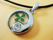 Real Four-Leaf Clover Tai Chi shaped Pendant Good Lucky Gift NG