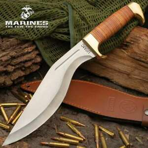 "17"" USMC Military Survival Fixed Blade Kukri Knife Machete Axe Blade w/ Sheath"