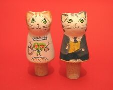 Bride & Groom Pottery Bottle Stoppers Cat Design NEW Any Wedding Guest Gift