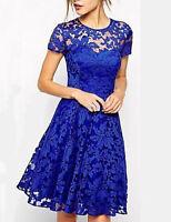 Women's Lace A Line Dress,Solid Color Round Neck Sz 2XL Black Lace Overlay