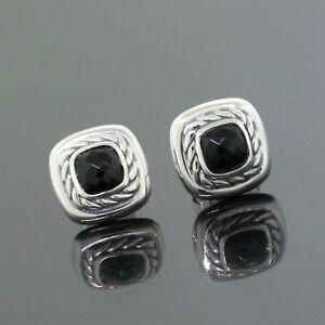 David Yurman 925 Sterling Silver 7mm Black Onyx Cushion Cookie Stud Earrings