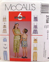 McCalls 2758 Pattern Short Set Tops Capri Pants 6 Great Looks Girls Szs 12 14 16