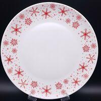 ROYAL NORFOLK Red Snowflakes Ceramic Dinner Plate