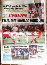 L'Equipe Journal 5/10/1992; L'OM met Monaco Hors Jeu/ PSg-Metz 5-1/ Boks/ Echave