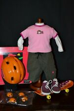 AMERICAN GIRL-SKATEBOARDING OUTFIT I W/ SKATEBOARD ACCESSORIES IN BOX-COMPLETE