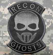 RECON GHOSTS SPECIAL FORCES US BLACK DARK OPS VELCRO® BRAND FASTENER PATCH 5""