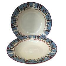 Cambridge Potteries Snowman Serenade Two Rimmed Soup Cereal Bowls