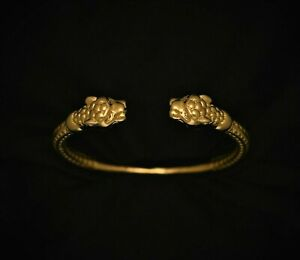 Men's 18K Gold Filled Double Dragon Head Cuff Bangle