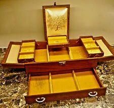 BIG VINTAGE MELE JEWELRY BOX-MULTI TIER-WOOD GRAIN LEATHERETTE-GOLD LINING-KEY!