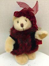 "Russ Berrie Natasha 7"" Plush Teddy Bear Doll in Fur Coat"