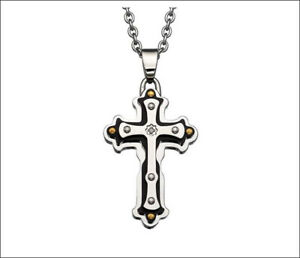 NEW Auth 'BLACK & BLUE' Jewelry Co. COLE Stainless Steel Diamond Cross