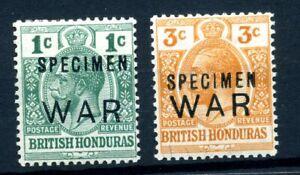 British Honduras  1918 war stamp pair overprinted  SPECIMEN MLH. original gum