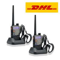 2x Baofeng UV-5R+ Plus Dual Band VHF UHF Amateur Ham Two-way Radio Walkie Talkie