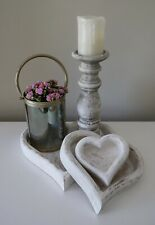 Heart Shaped Nesting Wooden Trays Serving Natural Rustic Display Tea Set of 3