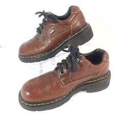 Doc Martens Pebbled Leather Boots Womens Size 6 Brown 3 eye Vintage Boho Casual