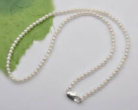 Natural 6-7mm Real White Akoya Freshwater Pearl Necklace 18'' 925 Silver Clasp