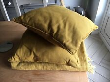 M&S Mustard Yellow Bedspread / Throw & Two Cushions