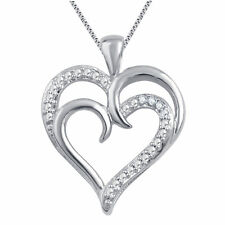 Dual Heart Pendant Necklace with Natural Diamond Accents White Gold Plated Brass