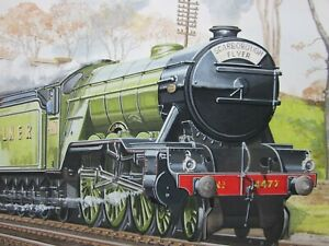 PAIR of Signed STEAM TRAIN Painting's c.1960, SCARBOROUGH FLYER & GOLDEN ARROW