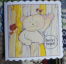 Handmade Personalised Belated Sorry I Forgot Bear Child Birthday Card