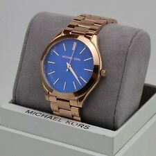 NEW AUTHENTIC MICHAEL KORS SLIM RUNWAY ROSE GOLD BLUE WOMEN'S MK3494 WATCH