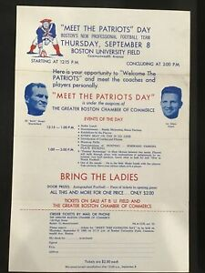 1960 Meet the Boston Patriots Day ticket flyer pre New England Football Team