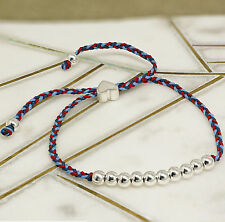 Help For Heroes Womens Cord & 925 Silver Beads & Heart Friendship Bracelet Gift