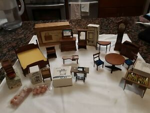 VINTAGE Dollhouse Furniture  Room  Table Chairs Buffet Lot