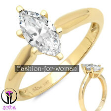 1.0Ct Marquise VVS1 DIAMOND 14K YELLOW GOLD Ring Solitaire Woman Engagement ANNE