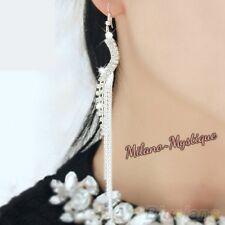 Milano~Mystique Long SWIRLING Sparkly Drop Silver Diamante Dangle XMAS EARRINGS