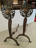 Vintage Pair Fireplace Andirons Virginia Metalcrafters Brass Medallion Cast Iron