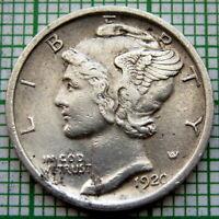 UNITED STATES 1920 P MERCURY DIME - 10 CENTS, PHILADELPHIA, SILVER HIGH GRADE