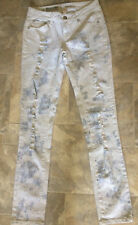 #468 Womens Mossimo Skinny jeans size 7 faded distressed engineer striped light