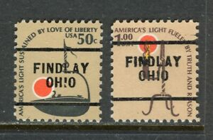 Findlay OH 256 precancel on 50 cent & $1.00 Americana issues Scott 1608 & 1610